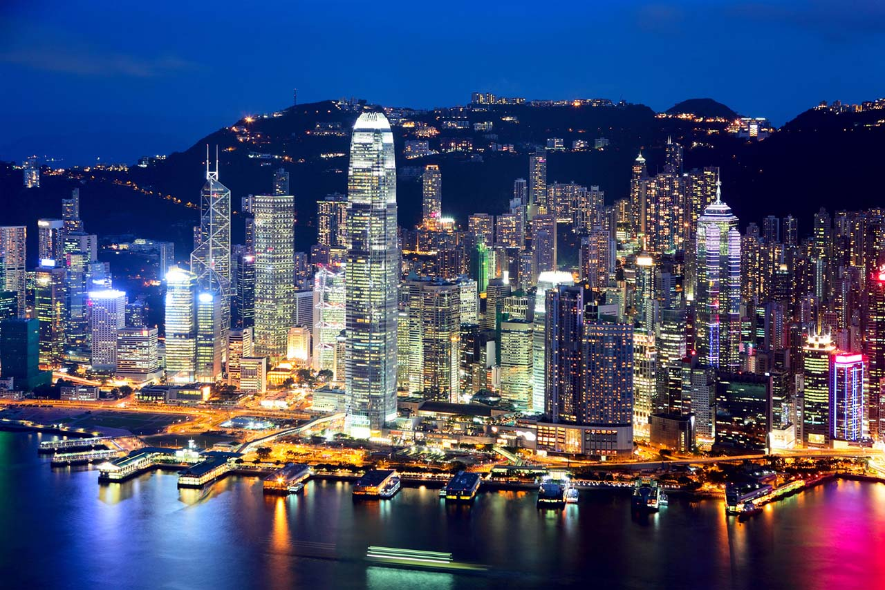 Hong Kong city at evening